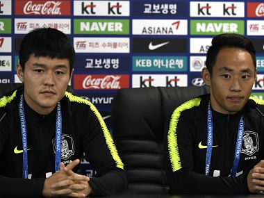 South Korea's players Ju Se-Jong and Moon Seon-Min attend a press conference in Saint Petersburg. AFP
