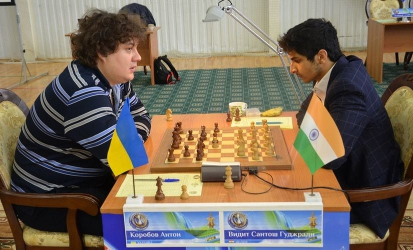 Vidit Gujrathi (R) during his game against Anton Korobov in round 7. Image Courtesy: Vasily Papin