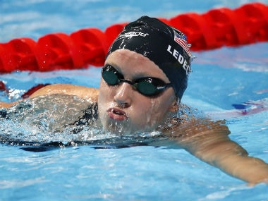 Katie Ledecky clocked a minute and 54 seconds at the Pro Swim meet. Reuters