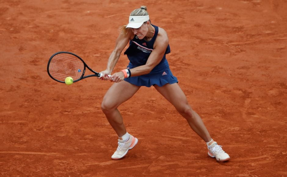 Germany's Angelique Kerber in action during her quarter-final match. Kerber took a 4-0 lead during the first set before winning it in the tie-break. But Halep rallied to defeat Kerber, a two-time Major winner who had exited in the first round in Paris in the last two years. Reuters