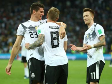 Germany's Toni Kroos celebrates scoring their second goal with teammates. Reuters