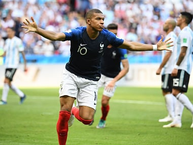 France's forward Kylian Mbappe celebrates after scoring their third goal during the Russia 2018 World Cup round of 16 football match between France and Argentina at the Kazan Arena in Kazan on June 30, 2018. / AFP PHOTO / FRANCK FIFE / RESTRICTED TO EDITORIAL USE - NO MOBILE PUSH ALERTS/DOWNLOADS