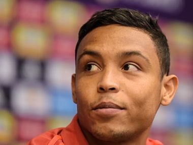Colombia's forward Luis Muriel attends a press conference in Kazan ahead of Group H match against Japan. AFP