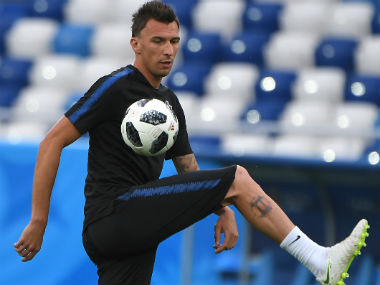Croatia's forward Mario Mandzukic takes part in a training session at the Kaliningrad Stadium. AFP