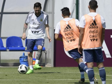 Lionel Messi trains with the rest of the Argentina squad ahead of their clash against France. AFP