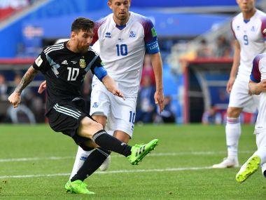 Argentina's Lionel Messi in action against Iceland. AFP