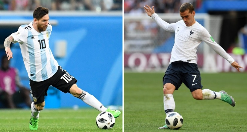 Argentina's forward Lionel Messi and France's forward Antoine Griezmann. France play Argentina in their 2018 World Cup Round of 16 match at the Kazan Arena on Saturday. AFP
