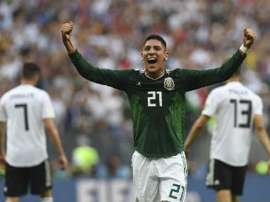 Mexico's Edson Alvarez celebrates his team's 1-0 win over Germany. AFP