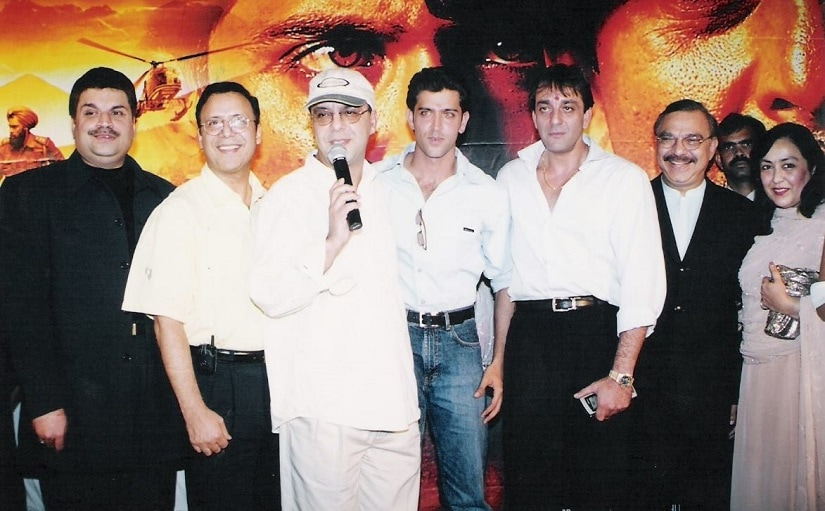 Vidhu Vinod Chopra (with mic) along with Hrithik Roshan and Sanjay Dutt during Mission Kashmir press event. File picture. Facebook