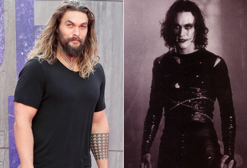 Jason Momoa (L); Brandon Lee in The Crow (1994). Image via Twitter