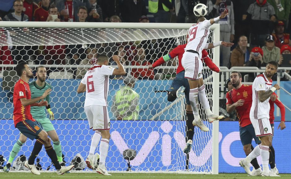 Morocco's Youssef En Nesyri, 19, scored his side's second goal during the Group B match between Spain and Morocco at the 2018 FIFA World Cup at the Kaliningrad Stadium. AP