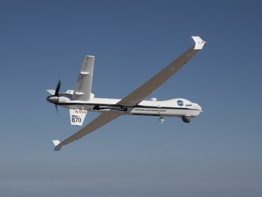 NASA's remotely-piloted Ikhana aircraft, based at the agency's Armstrong Flight Research Center in Edwards, California, is flown in preparation for its first mission in the National Airspace System without a safety chase aircraft. Image Credit: NASA