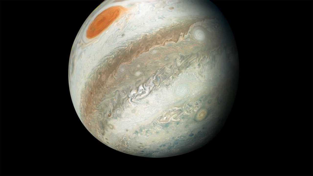 In this picture from May 2018, the Great Red Spot appears from the south, as it does in the north, due to the extraordinary view of Jupiter. Image courtesy of NASA