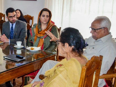 Governor NN Vohra and his wife Usha Vohra at a reception for the 2017-18 Civil Services qualifiers already serving in the valley. PTI