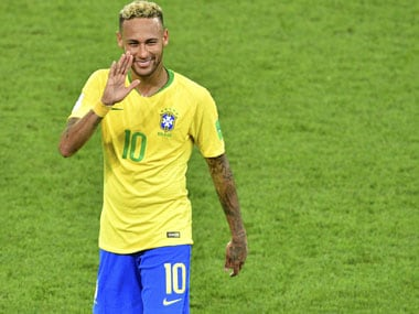 Neymar reacts after the match between Brazil and Serbia. AFP