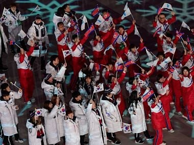 North and South Korean athletes during the closing ceremony of the Pyeongchang 2018 Winter Olympic Games. AFP