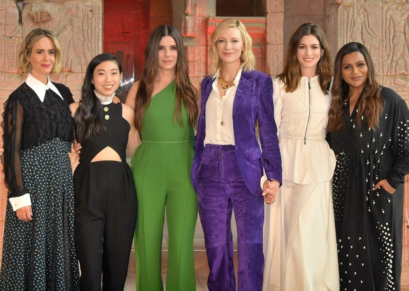 (From L-R) Ocean's 8 cast members: Sarah Paulson, Awkwafina, Sandra Bullock, Cate Blanchett, Anne Hathaway and Mindy Kaling. Image via Twitter