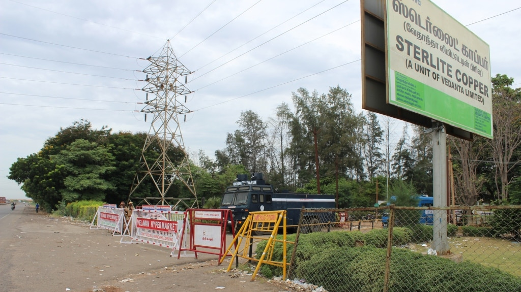 Barricades at the Vedanta Sterlite plant