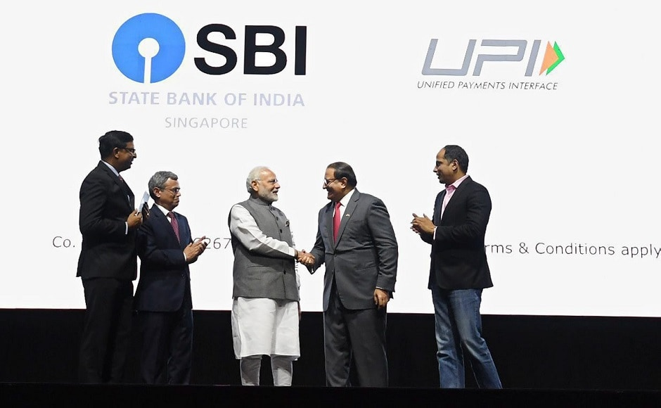 Modi launched three Indian mobile payment apps - SBI, BHIM and RuPay at a business event aimed at internationalisation of the country's digital payment platform. RuPay digital payments system was linked up with Singapore's 33-year old Network for Electronic Transfers (NETS). PTI