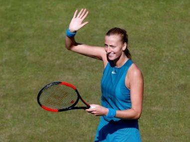 Petra Kvitova celebrates winning her quarter-final match against Julia Goerges. Reuters