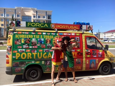 The two Portuguese fans stacked their van full of wine and food before departing on their journey. Reuters