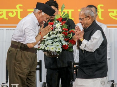 Pranab Mukherjee attended the RSS' Tritiya Varsha ceremony in Nagpur on Thursday. PTI