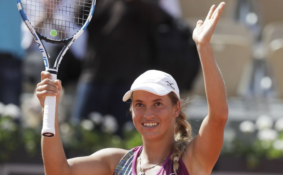 Kazakhstan's Yulia Putintseva celebrates winning her fourth round match of the French Open against Barbora Strycova of Czech Republic in two sets 6-2, 6-0. Putintseva is the world number 98 and is through to her second French Open quarter-final. AP