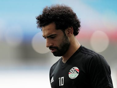 Mohamed Salah during training . Reuters