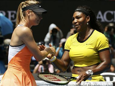Russia's Maria Sharapova (L) reacts as she shakes hands with Serena Williams of the U.S. after Williams won their quarter-final match at the Australian Open tennis tournament at Melbourne Park, Australia, January 26, 2016. REUTERS/Tyrone Siu TPX IMAGES OF THE DAY Picture Supplied by Action Images - MT1ACI14259106