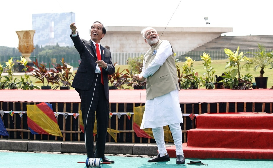 Joko Widodo and Modi flew kites on Wednesday as they inaugurated the first joint kite exhibition themed on India's largest epics Ramayana at National Monument. He also visited the Istiqlal Mosque in Jakarta. Reuters