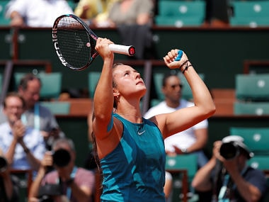 Tennis - French Open - Roland Garros, Paris, France - June 4, 2018 Russia's Daria Kasatkina reacts during her fourth round match against Denmark's Caroline Wozniacki REUTERS/Charles Platiau - RC13B4FBBF80