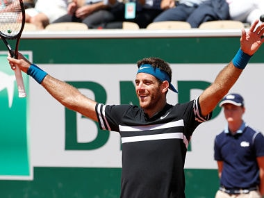 Tennis - French Open - Roland Garros, Paris, France - June 7, 2018 Argentina's Juan Martin del Potro celebrates after winning his quarter final match against Croatia's Marin Cilic REUTERS/Pascal Rossignol - RC1BD1F95D40