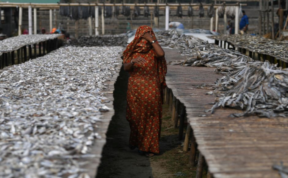 The women have found work drying fish at a yard in nearby Nazirartek, for a daily takehome of 100-200 taka ($1.20-$2.40). Reuters/Coldagh Kilcoyne