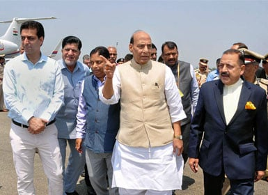 Union Home Minister Rajnath Singh with MoS in PMO Jitendra Singh arrive for a 2-day visit, in Srinagar on Thursday. PTI