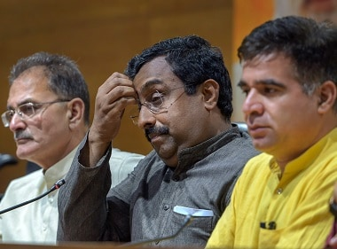 BJP in-charge for Jammu and Kashmir Ram Madhav at the press conference. PTI