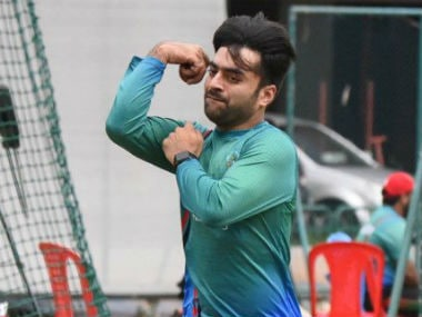 Rashid Khan at the practice session ahead of the India-Afghanistan Test. Image credit: Twitter/@ACBofficials