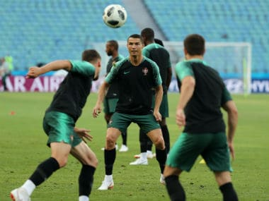 Portugal forward Cristiano Ronaldo in a practice session ahead of Portugal's opening game against Spain. Reuters