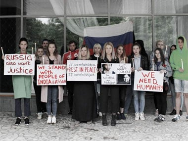 The news of the brutal murders even crossed the Indian shores. Protestors in Russia demanded justice for the deceased youths. Image courtesy @News18Northeast