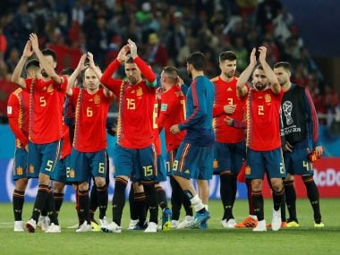 Spain players applaud fans after the match. Reuters