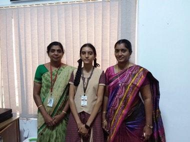 (left to right) M S Santhiny Kawsel, prinicipal; Jeevitha Bethulakshmi and Ananthi, of the Subbiah Vidyalayam girls school, Tuticorin. PIc courtesy: Subbiah Vidyalayam