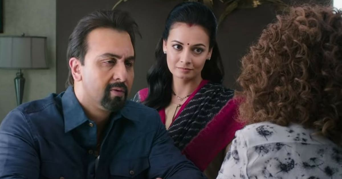 Ranbir Kapoor, Dia Mirza and Anushka Sharma in a still from Sanju
