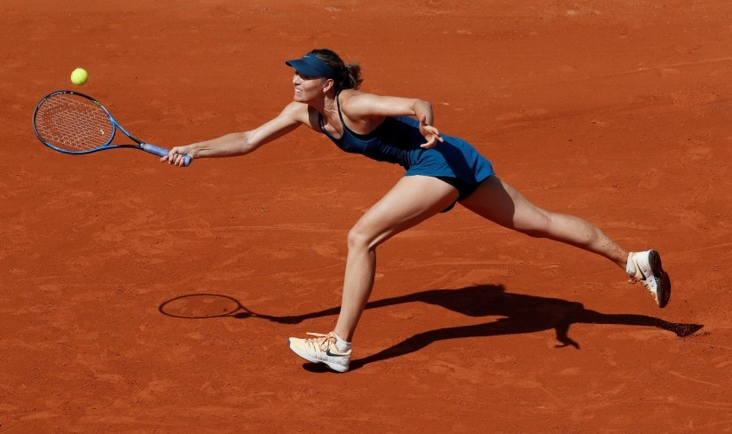 Maria Sharapova in action during her first round match against Netherlands' Richel Hogenkamp at the French Open. Reuters