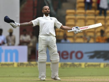 Shikhar Dhawan tore the Afghan attack apart, bringing up his century before lunch on Day 1. AP