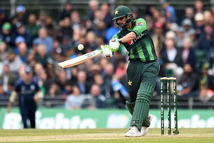 Shoaib Malik in action against Scotland in 2nd T20I. AFP
