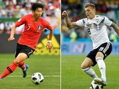 South Korea's forward Son Heung-min (L) Germany's Toni Kroos. AFP