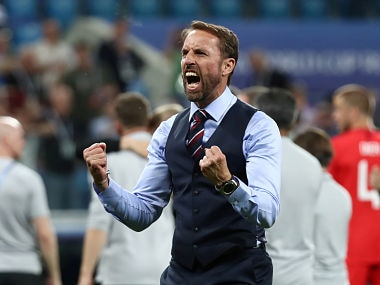 England manager Gareth Southgate celebrates after the Tunisia win. Reuters