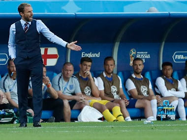 England head coach Gareth Southgate reacts during the group G match against Belgium. AP