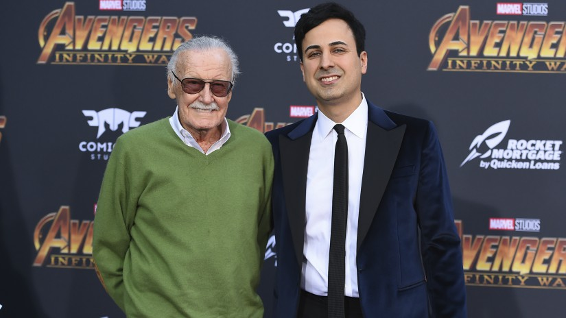 "Stan Lee and Keya Morgan at the world premiere of ""Avengers: Infinity War"" in Los Angeles. AP/ Jordan Strauss"
