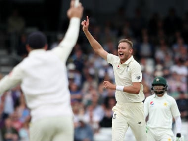 Stuart Broad played a central role in restricting Pakistan to low scores with match figures of 6/66. Reuters