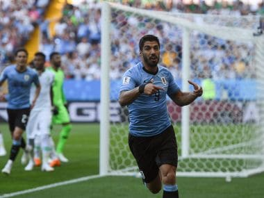 Uruguay's Luis Suarez celebrates his goal against Saudi Arabia. AFP
